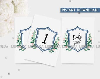 table numbers, custom table numbers, wedding table number, watercolor table numbers, table numbers, instant  download table numbers