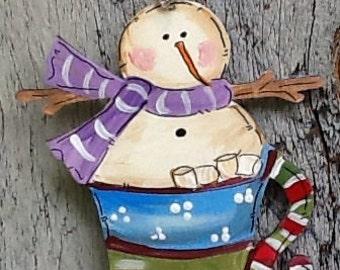 Snowman ornament, frosty tag, cocoa ornament, snowman gift tag, hot cocoa gift tag, Santa ornament, marshmallow ornament, teacher ornament