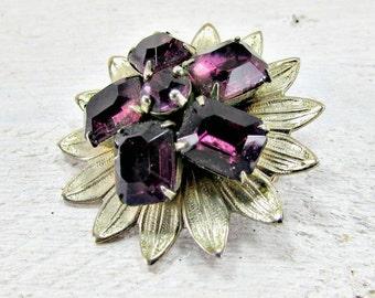Vintage Purple Rhinestone Brooch Pin, Rhinestone Flower Brooch, Gold Flower Brooch Brooch, 1950s 1960s Vintage Mad Men Costume Jewelry