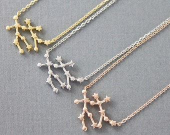 Rose Gold Gemini Constellation Necklace Zodiac Sign Necklace Birthday Gift Zodiac Jewelry Gemini Necklace Birth Signs .