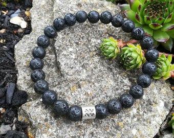 Black Lava Stone Bracelet, Men's Bracelet, Woman's Bracelet, Black Beaded Bracelet, Lava Bracelet, Zodiac Bracelets, Birthday Bracelet, Gift