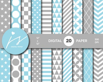 Baby blue and grey digital scrapbook paper pack, Baby digital paper pack, Digital backgrounds, Printable paper, Commercial use, MI-592