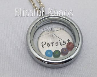Broken Glass Ceiling Necklace, Track Goals, Floating Charm Locket, Nevertheless She Persisted, Life Accomplishment, Gift for wife, Empower