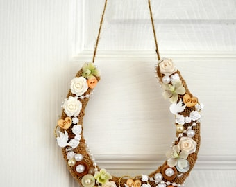 Wedding Horseshoe Gift. Hessian,vintage styled.Doves.Flowers.Pearls.Wooden love hearts