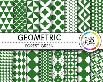 Geometic Digital Paper, Forest Green, Green, White, Tribal, Tiangles, Digital Paper, Digital Download, Scrapbook Paper, Digital Paper Pack