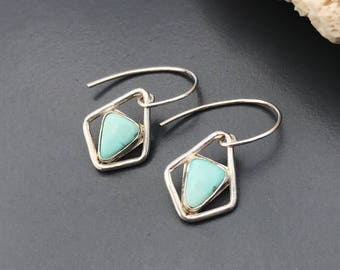 Turquoise Earrings, Light Blue Stones Sterling Silver Dangles, Minimalist Contemporary Style, Modern Triangle Design, Artisan SilverSmith