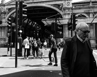 London Photography, Black And White Print, Farringdon, Street Photography, Old Man, London Print, Wall Art, Home Decor, Art Print, Cityscape