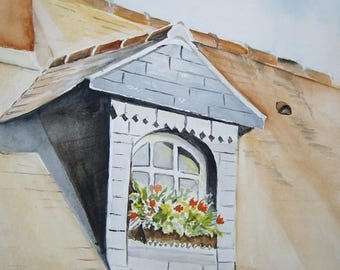 Watercolor painting window home old Beuvron trough 24x32cm, wall art, decoration