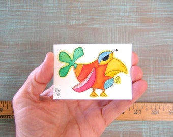Bird-J71, Original ACEO Watercolor, Art Card, Miniature Painting, by Fig Jam Studio