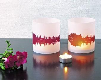 Lantern SALZBURG city light, 2 Tablelight fume and plum,for Salzburg Lovers, Honeymoon in Salzburg, romantic candlelight,City Shade Salzburg