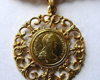 Austro-Hungarian EMPRESS MARIA THERESA Gold tone Pendant Necklace on chain