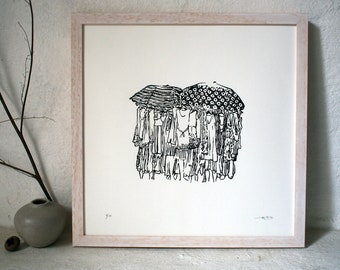 Ready to wear II - Original Linocut Print - Limited Edition of 10 // Art, print, printmaking, linoprint, wall art, beach scene,