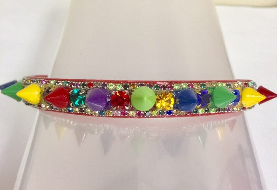Bling Cutie Pie Pet Collars TM ~ Christmas Tree Jewels & SPIKES~  Crystal Diamante Rhinestone Spiked Pet Dog Cat Collar USA