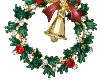 Swarovski Element Crystals Wreath and Gold-tone Bell Brooch Pin