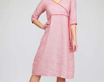 Subtle linen dress with pipping insert | dress, linen dress, custom dress, summer dress, long dress, loose dress, pleated dress, 3/4 sleeves