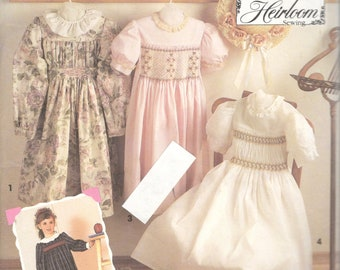 Simplicity 7400 Girls Heirloom Dress Pattern Smocking Transfer Oliver Goodin Childs Sewing Pattern Size 3 4 5 6 7  8 Breast  22 - 27 UNCUT