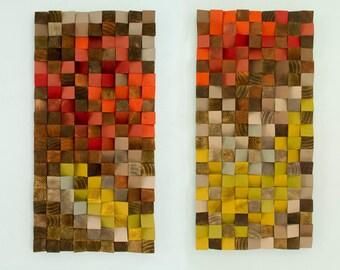 "Reclaimed Wood Art, wood wall art industrial decor set of 2, ""Fire sparks"""