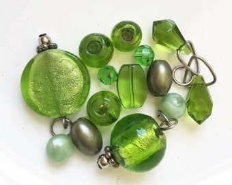 salvaged assorted bold green beads and beaded dangles--mixed lot of 13