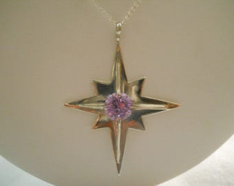 Lavender CZ Diamond Star Pendant