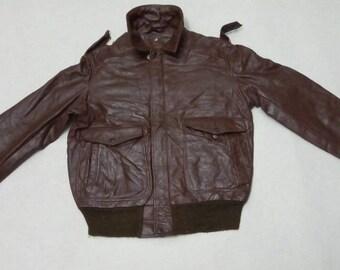 Vtg Schott sportswear cafe racer motorcycle aviator pilot leather flight jacket  #38