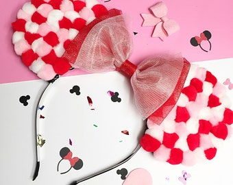 Valentine's Day Pink, White, and Red Pom Pom Minnie Mouse Ears Headband