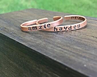 Handstamped baby bangle- Baby bracelet- Personalized baby jewelry- Baby girl bracelet- Toddler jewelry- Flower girl gift-Identity bracelet