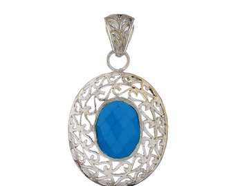 Faceted Blue Chalcedony 925 Silver Pendant