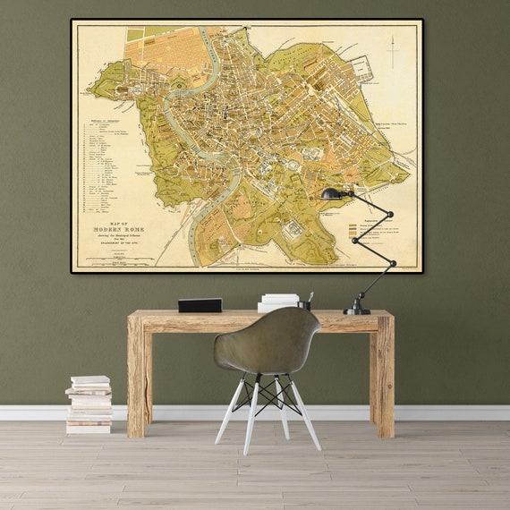 Rome Old Map Rome Print Rome Painting Rome Wall Art