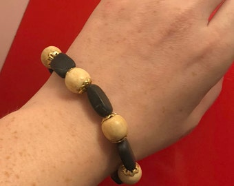 Wood and Blackstone bracelet with gold accents