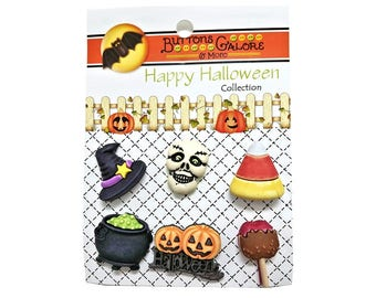 Witchy Skull Cauldron Candy Corn Witch Hat Buttons Galore Happy Halloween Collection
