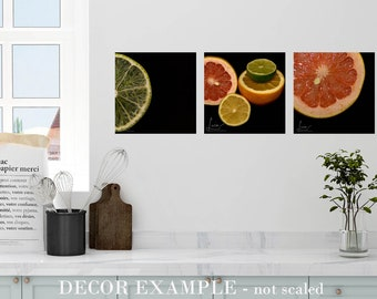 Square 10x10 Photography Print or Canvas Set of 3 - Wall Art Decor - Citrus Lime Slice, Citrus Colors and Citrus Grapefruit