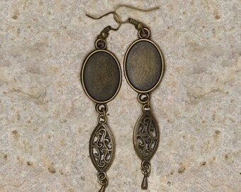 Earrings support cabochon oval 13 X 18 mm finish scroll work