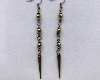 Bronze dangle spike earrings