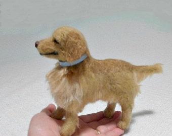 Needle Felted Dog /Custom Miniature Sculpture of your pet Cute / Poseable example Golden Retriever