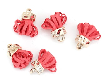 5 RED WATERMELON VELVET TASSELS CHARMS AND GOLD