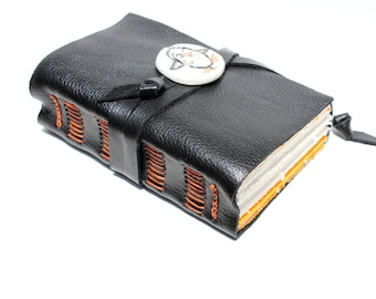Special Price - Penguin - Black Leather Journal or Sketchbook - Handmade with Handcrafted Porcelain Button