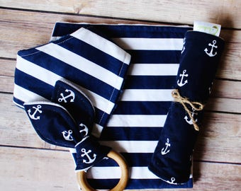 Baby Boy Gift - Nautical Anchors Baby Gift