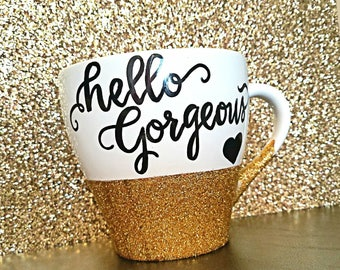 Custom Glitter Calligraphy Coffee Mug, Ceramic White or Black Coffee Mug, Personalize how you wish in a variety of colors and gl!