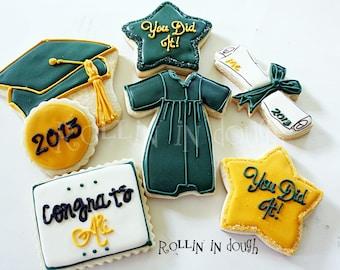 Graduation Cookies - Cap, Gown, Diploma - 1 Dozen