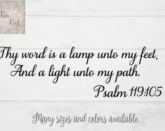 Bible Verse Decal, Psalm 119, Thy Word is a Lamp Unto my Feet, and a Light Unto my Path, Bible Verse Decor, Spiritual Decal, Religious Decal