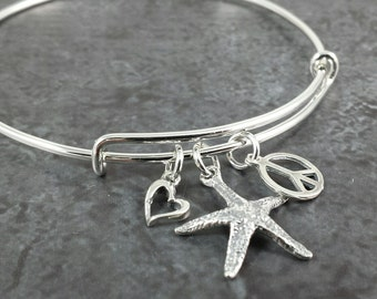 Adjustable Sterling Silver Bangle Charm Bracelet - Expandable Bracelet - Choose your charms
