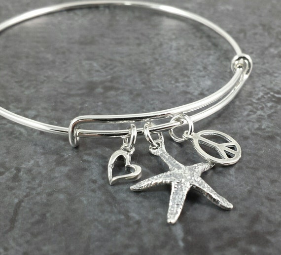 adjustable bangles sterling bangle silver expandable wire charm p bracelet