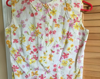 Vintage early 60's Summer Cool Tannerway pink and yellow floral ladies blouse sz 10