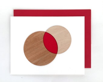 "Modern Lasercut Wood ""Fusion of Souls"" Anniversary Card, Valentine's, or Love Card"