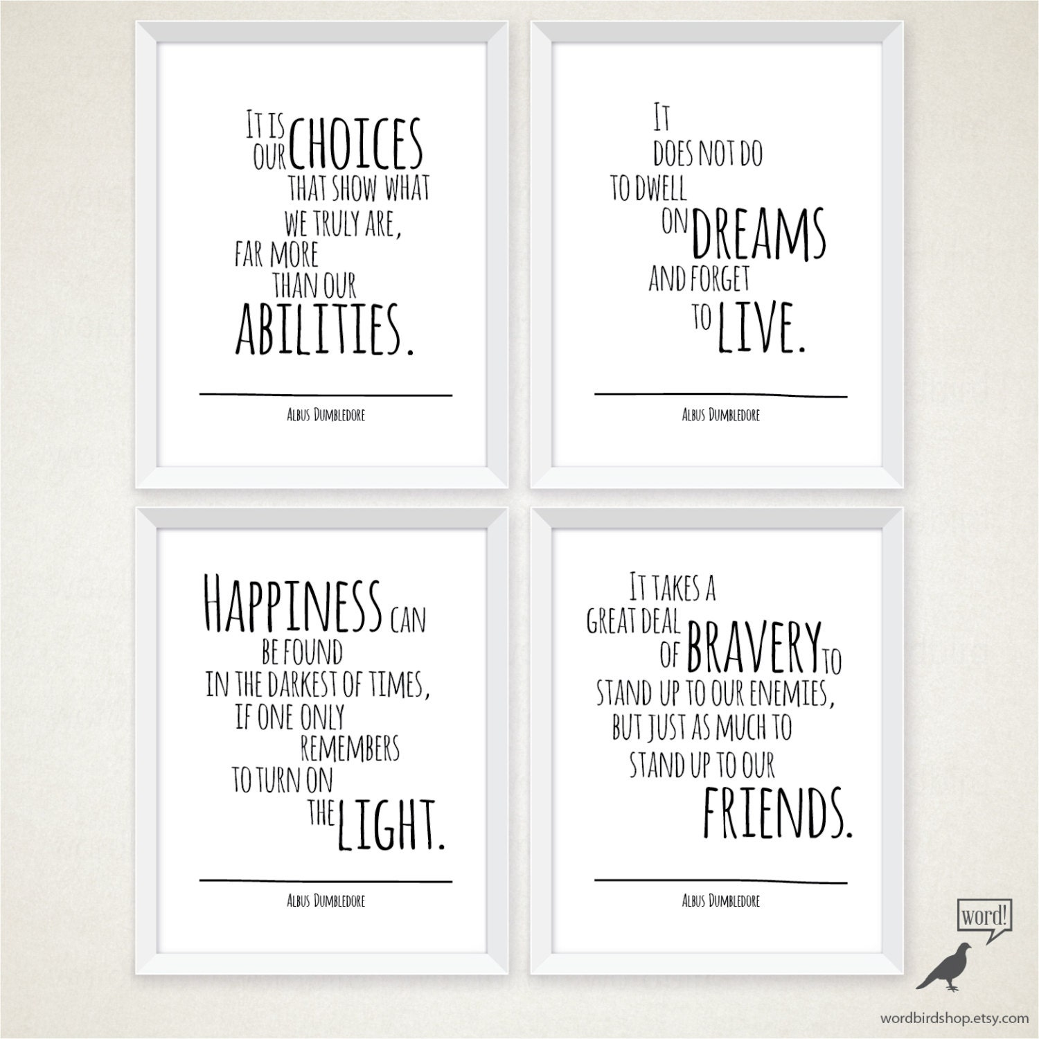 Wedding decor quote template choice certification of completion albus dumbledore 4 quote set happiness quote typography art il fullxfull albus dumbledore 4 quote set happiness wedding decor quote template choice junglespirit Choice Image