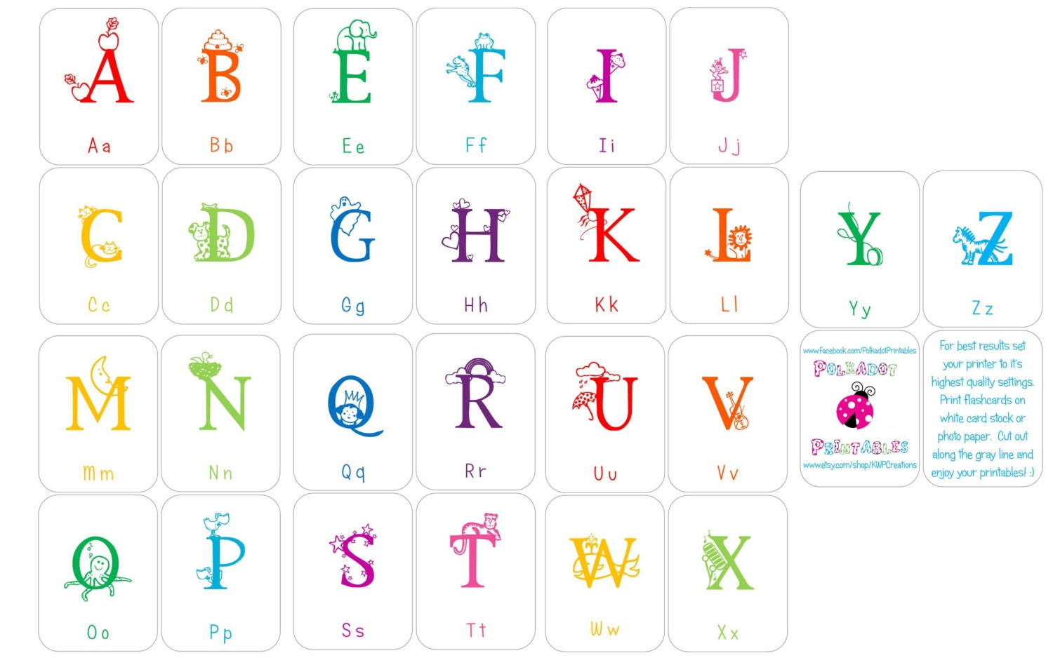 Alphabet Flashcards Upper and Lowercase Instant Download