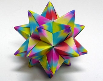 Tie Dye Star, Origami Star, Tie-Dye decoration, Rainbow Ornament, Origami Ornament, Christmas Ornament