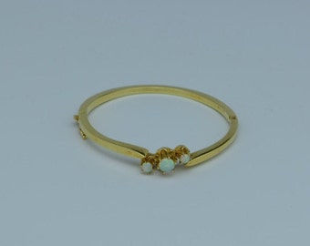 14k Yellow Gold Hinged Bangle Bracelet with Opals, Circa 1950