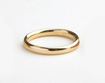 Gold Rings For Women Men, Minimal Gold Wedding Ring, Modern Ring, Men 14k Yellow Solid Gold Wedding Band, Comfort Fit Wedding