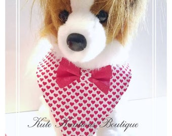 Valentine's  Pet Bandana/Holiday Pet Bandana/Red Valentine's Bandana